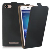 """BLU Dash X2 5.0"""": Accessoire Housse Coque Pochette Etui protection vrai cuir à rabat vertical - NOIR"""