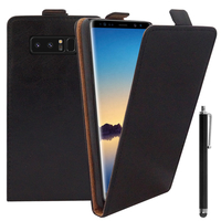 """Samsung Galaxy Note 8 6.3""""/ Note8 Duos: Accessoire Housse Coque Pochette Etui protection vrai cuir à rabat vertical + Stylet - NOIR"""