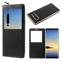 """Samsung Galaxy Note 8 6.3""""/ Note8 Duos: Etui View Case Flip Folio Leather cover + mini Stylet - NOIR"""