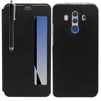 """Huawei Mate 10 Pro 6.0"""" BLA-L09/ L29/ AL00 (non compatible Mate 10 5.9""""): Etui View Case Flip Folio Leather cover + Stylet - NOIR"""