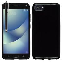 """Asus Zenfone 4 Max/ Max Pro/ Max Plus ZC554KL 5.5"""" (non compatible Zenfone 4 Max ZC520KL 5.2""""): Housse Coque TPU Silicone Gel Souple Translucide Ultra Fine + Stylet - NOIR"""