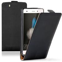 Huawei P8lite ALE-L21/ P8 lite ALE-L04 (non compatible Huawei P8): Accessoire Housse coque etui cuir fine slim - NOIR