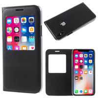 "Apple Iphone X 5.8""/ iPhone 10/ iPhone Ten: Etui View Case Flip Folio Leather cover - NOIR"