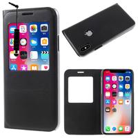 "Apple Iphone X 5.8""/ iPhone 10/ iPhone Ten: Etui View Case Flip Folio Leather cover + mini Stylet - NOIR"
