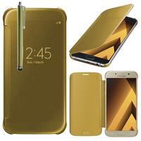 """Samsung Galaxy A5 (2017) 5.2"""" A520F/ A5 (2017) Duos (non compatible Version 2014/ 2015/ 2016): Coque Silicone gel rigide Livre rabat + Stylet - JAUNE"""