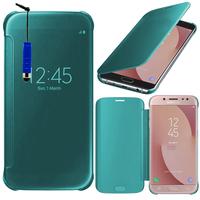 Samsung Galaxy J7 (2017) SM-J730F/DS/ J7 (2017) Duos J730F/DS: Coque Silicone gel rigide Livre rabat + mini Stylet - BLEU