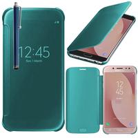 Samsung Galaxy J7 (2017) SM-J730F/DS/ J7 (2017) Duos J730F/DS: Coque Silicone gel rigide Livre rabat + Stylet - BLEU