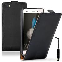 Huawei P8lite ALE-L21/ P8 lite ALE-L04 (non compatible Huawei P8): Accessoire Housse coque etui cuir fine slim + mini Stylet - NOIR
