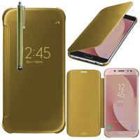 Samsung Galaxy J7 (2017) SM-J730F/DS/ J7 (2017) Duos J730F/DS: Coque Silicone gel rigide Livre rabat + Stylet - JAUNE