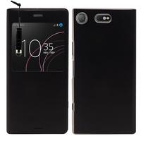 "Sony Xperia XZ1 Compact/ XZ1 Compact Dual 4.6"" (non compatible Xperia XZ/ XZs/ XZ1): Etui View Case Flip Folio Leather cover + mini Stylet - NOIR"