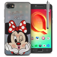 "Alcatel A5 LED 5.2"": Coque Housse silicone TPU Transparente Ultra-Fine Dessin animé jolie + Stylet - Minnie Mouse"