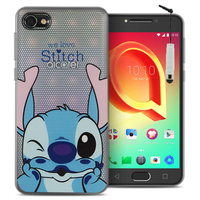 "Alcatel A5 LED 5.2"": Coque Housse silicone TPU Transparente Ultra-Fine Dessin animé jolie + mini Stylet - Stitch"