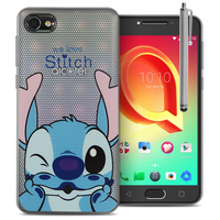 "Alcatel A5 LED 5.2"": Coque Housse silicone TPU Transparente Ultra-Fine Dessin animé jolie + Stylet - Stitch"