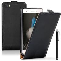 Huawei P8lite ALE-L21/ P8 lite ALE-L04 (non compatible Huawei P8): Accessoire Housse coque etui cuir fine slim + Stylet - NOIR