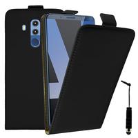 """Huawei Mate 10 Pro 6.0"""" BLA-L09/ L29/ AL00 (non compatible Mate 10 5.9""""): Accessoire Housse Coque Pochette Etui protection vrai cuir à rabat vertical + mini Stylet - NOIR"""