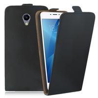 """Meizu M3E 5.5"""": Accessoire Housse Coque Pochette Etui protection vrai cuir à rabat vertical - NOIR"""