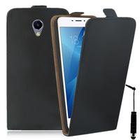 """Meizu M3E 5.5"""": Accessoire Housse Coque Pochette Etui protection vrai cuir à rabat vertical + mini Stylet - NOIR"""