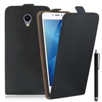 """Meizu M3E 5.5"""": Accessoire Housse Coque Pochette Etui protection vrai cuir à rabat vertical + Stylet - NOIR"""