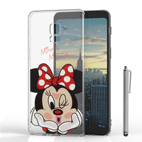 "Samsung Galaxy A8 (2018) A530F 5.6""/ A8 (2018) Duos A530F/DS: Coque Housse silicone TPU Transparente Ultra-Fine Dessin animé jolie + Stylet - Minnie Mouse"