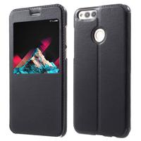"""Huawei Honor 7X 5.93"""" BND-L21/ L22/ L24/ AL10/ TL10: Etui View Case Flip Folio Leather cover - NOIR"""