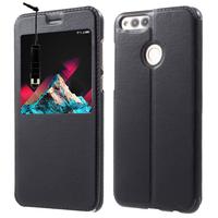 """Huawei Honor 7X 5.93"""" BND-L21/ L22/ L24/ AL10/ TL10: Etui View Case Flip Folio Leather cover + mini Stylet - NOIR"""