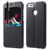 """Huawei Honor 7X 5.93"""" BND-L21/ L22/ L24/ AL10/ TL10: Etui View Case Flip Folio Leather cover + Stylet - NOIR"""
