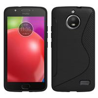 "Motorola Moto E4 5.0"" XT1766/ XT1763/ Motorola Moto E (4th Gen): Accessoire Housse Etui Pochette Coque Silicone Gel motif S Line - NOIR"