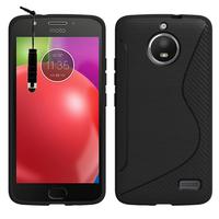 "Motorola Moto E4 5.0"" XT1766/ XT1763/ Motorola Moto E (4th Gen): Accessoire Housse Etui Pochette Coque Silicone Gel motif S Line + mini Stylet - NOIR"