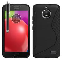 "Motorola Moto E4 5.0"" XT1766/ XT1763/ Motorola Moto E (4th Gen): Accessoire Housse Etui Pochette Coque Silicone Gel motif S Line + Stylet - NOIR"