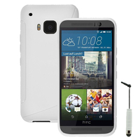 HTC One M9/ HTC One Hima/ One M9s: Accessoire Housse Etui Pochette Coque S silicone gel + mini Stylet - BLANC