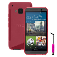 HTC One M9/ HTC One Hima/ One M9s: Accessoire Housse Etui Pochette Coque S silicone gel + mini Stylet - ROSE