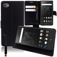 """BlackBerry Motion 5.5"""": Accessoire Etui portefeuille Livre Housse Coque Pochette support vidéo cuir PU + mini Stylet - NOIR"""