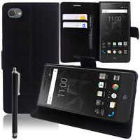"""BlackBerry Motion 5.5"""": Accessoire Etui portefeuille Livre Housse Coque Pochette support vidéo cuir PU + Stylet - NOIR"""