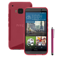 HTC One M9/ HTC One Hima/ One M9s: Accessoire Housse Etui Pochette Coque S silicone gel + Stylet - ROSE