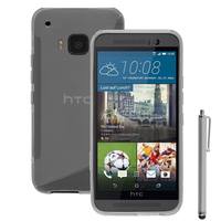 HTC One M9/ HTC One Hima/ One M9s: Accessoire Housse Etui Pochette Coque S silicone gel + Stylet - TRANSPARENT