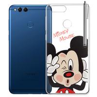 "Huawei Honor 7X 5.93"" BND-L21/ L22/ L24/ AL10/ TL10: Coque Housse silicone TPU Transparente Ultra-Fine Dessin animé jolie + Stylet - Mickey Mouse"