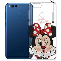 """Huawei Honor 7X 5.93"""" BND-L21/ L22/ L24/ AL10/ TL10: Coque Housse silicone TPU Transparente Ultra-Fine Dessin animé jolie + mini Stylet - Minnie"""