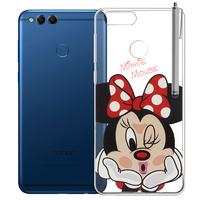 """Huawei Honor 7X 5.93"""" BND-L21/ L22/ L24/ AL10/ TL10: Coque Housse silicone TPU Transparente Ultra-Fine Dessin animé jolie + Stylet - Minnie"""