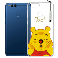 "Huawei Honor 7X 5.93"" BND-L21/ L22/ L24/ AL10/ TL10: Coque Housse silicone TPU Transparente Ultra-Fine Dessin animé jolie + mini Stylet - Winnie the Pooh"