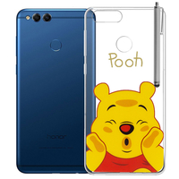 "Huawei Honor 7X 5.93"" BND-L21/ L22/ L24/ AL10/ TL10: Coque Housse silicone TPU Transparente Ultra-Fine Dessin animé jolie + Stylet - Winnie the Pooh"