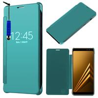 "Samsung Galaxy A8 (2018) A530F 5.6""/ A8 (2018) Duos A530F/DS: Coque Silicone gel rigide Livre rabat + mini Stylet - BLEU"