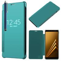 "Samsung Galaxy A8 (2018) A530F 5.6""/ A8 (2018) Duos A530F/DS: Coque Silicone gel rigide Livre rabat + Stylet - BLEU"