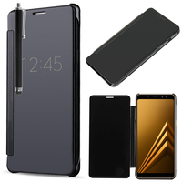 "Samsung Galaxy A8 (2018) A530F 5.6""/ A8 (2018) Duos A530F/DS: Coque Silicone gel rigide Livre rabat + Stylet - NOIR"