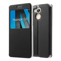 "Huawei Honor 6A 5.0"": Etui View Case Flip Folio Leather cover - NOIR"