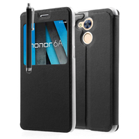 """Huawei Honor 6A 5.0"""": Etui View Case Flip Folio Leather cover + Stylet - NOIR"""