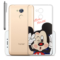 """Huawei Honor 6A 5.0"""": Coque Housse silicone TPU Transparente Ultra-Fine Dessin animé jolie + Stylet - Mickey Mouse"""
