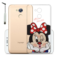 "Huawei Honor 6A 5.0"": Coque Housse silicone TPU Transparente Ultra-Fine Dessin animé jolie + mini Stylet - Minnie Mouse"