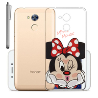 "Huawei Honor 6A 5.0"": Coque Housse silicone TPU Transparente Ultra-Fine Dessin animé jolie + Stylet - Minnie Mouse"