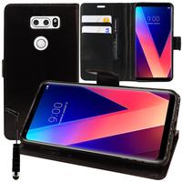 """LG V30 6.0""""/ V30+/ LG Signature Edition H930/ H931/ H932/ H933/ VS996/ US998/ LS998U: Accessoire Etui portefeuille Livre Housse Coque Pochette support vidéo cuir PU + mini Stylet - NOIR"""