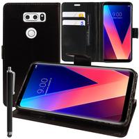 """LG V30 6.0""""/ V30+/ LG Signature Edition H930/ H931/ H932/ H933/ VS996/ US998/ LS998U: Accessoire Etui portefeuille Livre Housse Coque Pochette support vidéo cuir PU + Stylet - NOIR"""